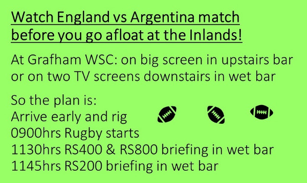 More information on RUGBY THEN SAILING = PERFECT INLANDS WEEKEND!